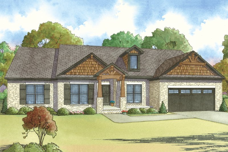 Craftsman Style House Plan - 4 Beds 2.5 Baths 2119 Sq/Ft Plan #923-24 Exterior - Front Elevation