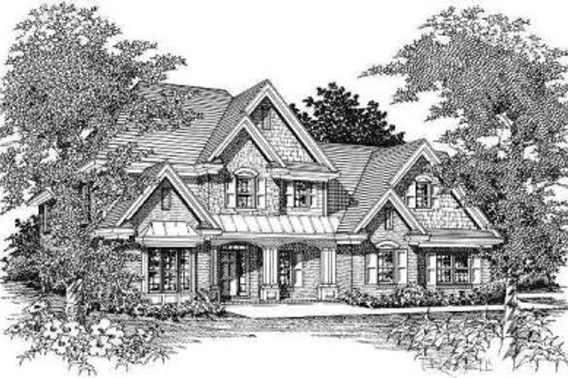 Traditional Style House Plan - 5 Beds 3.5 Baths 3234 Sq/Ft Plan #329-135 Exterior - Front Elevation