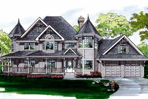 Victorian Exterior - Front Elevation Plan #47-302