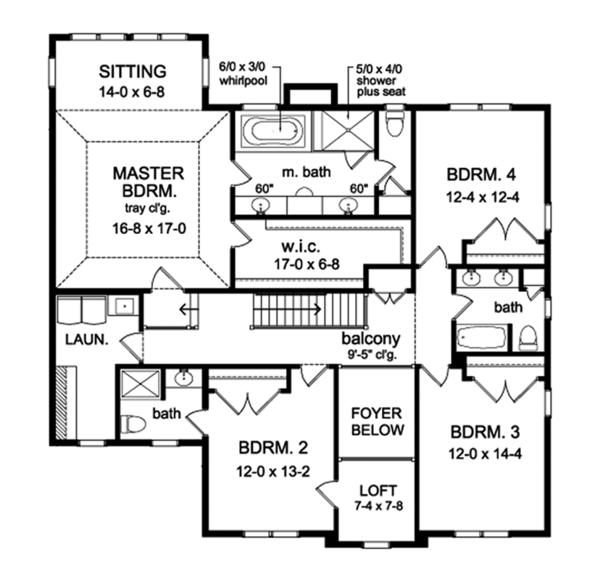 Colonial Floor Plan - Upper Floor Plan #1010-175