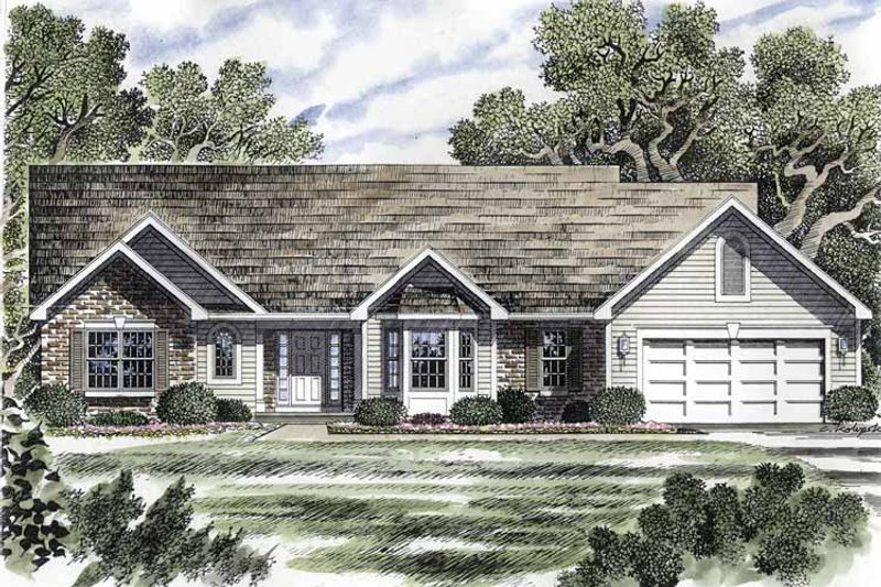 Ranch Exterior - Front Elevation Plan #316-176