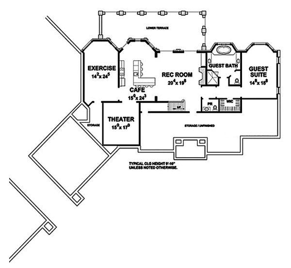 European Floor Plan - Lower Floor Plan Plan #20-2379