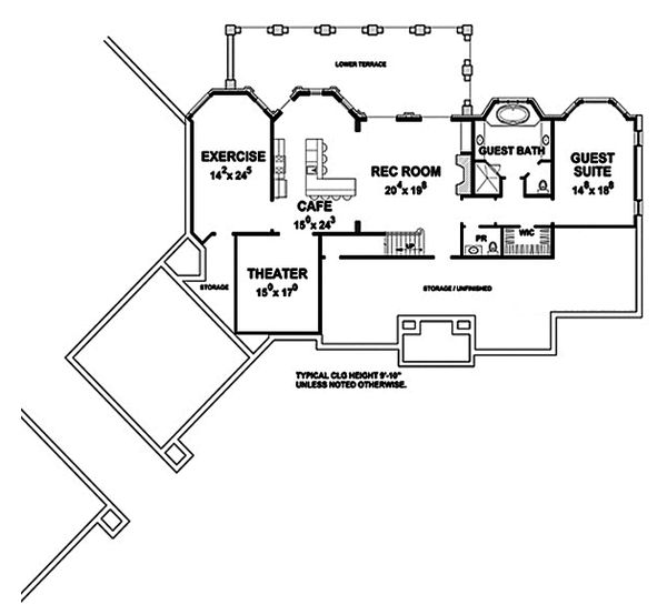 House Plan Design - European Floor Plan - Lower Floor Plan #20-2379