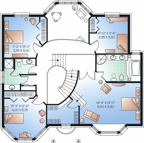 European Floor Plan - Upper Floor Plan Plan #23-865