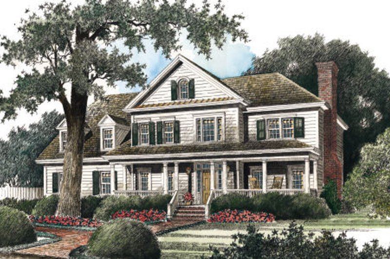 Country Style House Plan - 5 Beds 4 Baths 3285 Sq/Ft Plan #429-24 Exterior - Front Elevation