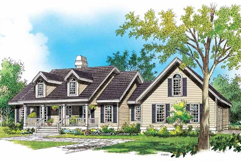 Architectural House Design - Country Exterior - Front Elevation Plan #929-789