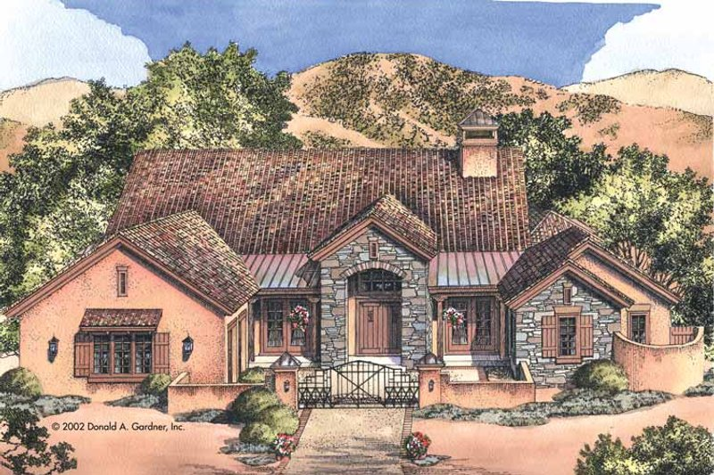 Adobe / Southwestern Exterior - Front Elevation Plan #929-685