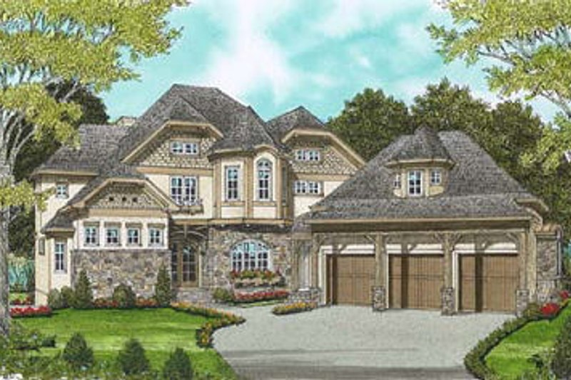 European Style House Plan - 4 Beds 4 Baths 3669 Sq/Ft Plan #413-109 Exterior - Front Elevation