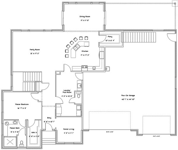 Ranch Floor Plan - Main Floor Plan Plan #1060-27