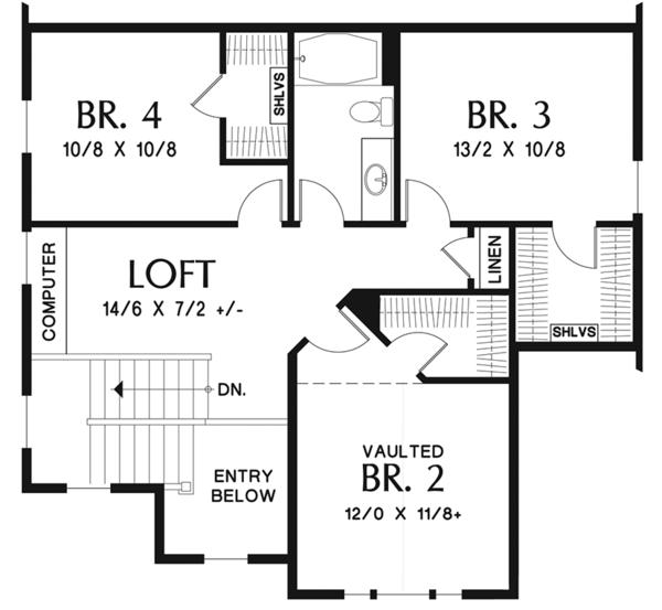 Craftsman Floor Plan - Upper Floor Plan #48-924