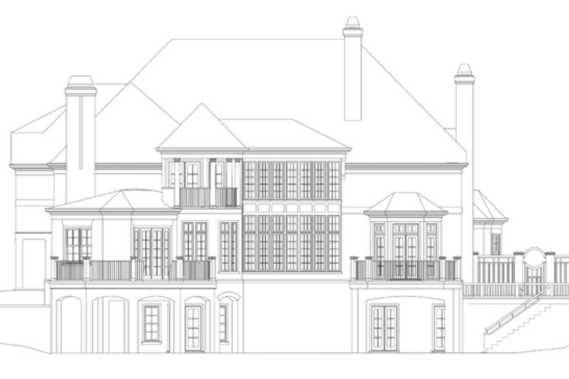 European Exterior - Rear Elevation Plan #119-419 - Houseplans.com