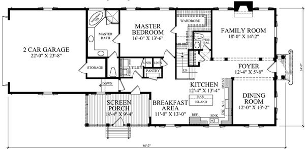 Colonial Floor Plan - Main Floor Plan Plan #137-259
