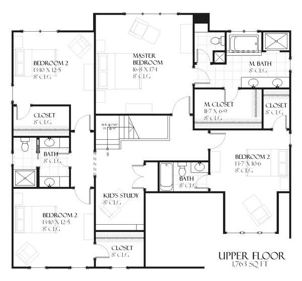 Country Floor Plan - Upper Floor Plan Plan #901-101