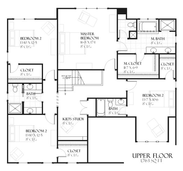 Country Floor Plan - Upper Floor Plan Plan #901-101