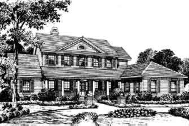 Southern Style House Plan - 5 Beds 4.5 Baths 4001 Sq/Ft Plan #135-122 Exterior - Front Elevation