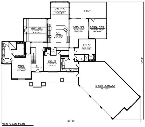 Ranch Floor Plan - Main Floor Plan Plan #70-1468