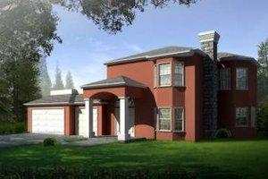Adobe / Southwestern Exterior - Front Elevation Plan #1-594