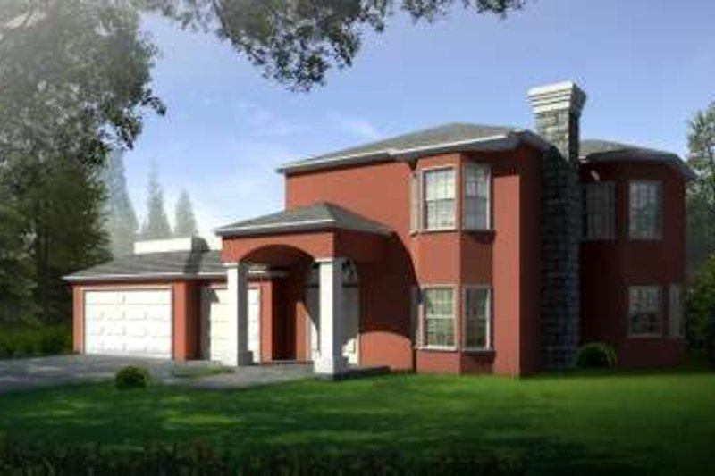 Adobe / Southwestern Style House Plan - 4 Beds 2.5 Baths 2495 Sq/Ft Plan #1-594 Exterior - Front Elevation