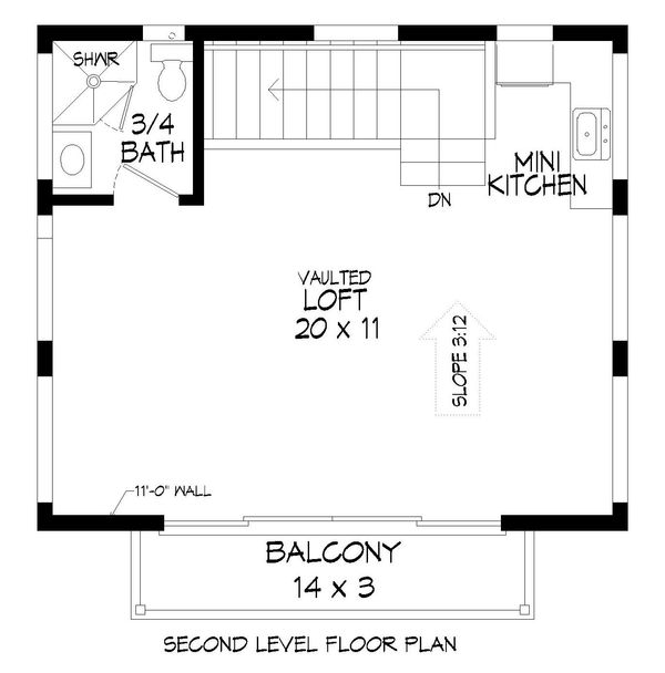 Contemporary Floor Plan - Upper Floor Plan #932-177