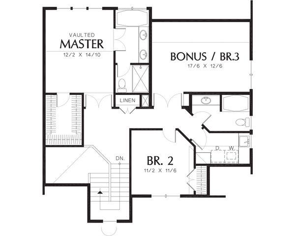 Traditional Floor Plan - Upper Floor Plan Plan #48-172