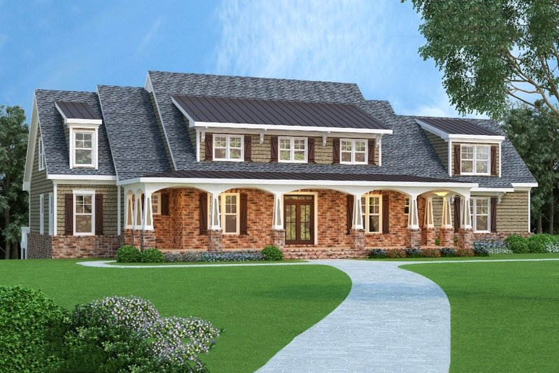Craftsman Style House Plan - 4 Beds 3.5 Baths 3735 Sq/Ft Plan #419-143 Exterior - Front Elevation