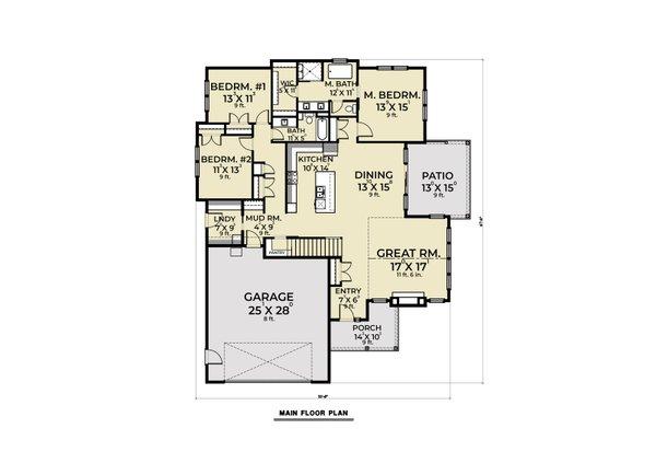Dream House Plan - Farmhouse Floor Plan - Main Floor Plan #1070-150