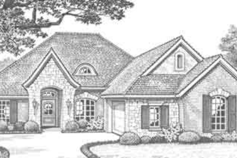 European Style House Plan - 3 Beds 2 Baths 1640 Sq/Ft Plan #310-291 Exterior - Front Elevation