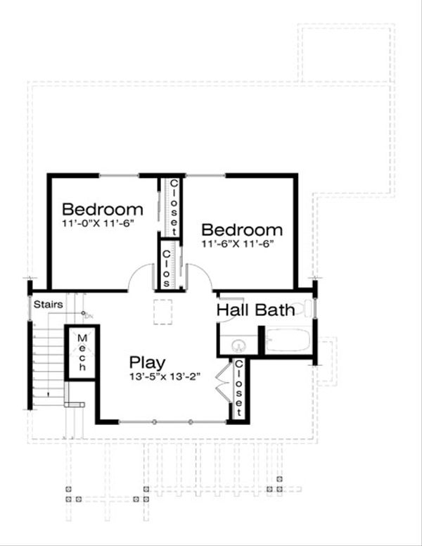 Craftsman Floor Plan - Upper Floor Plan Plan #434-13