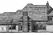 European Style House Plan - 4 Beds 6 Baths 3950 Sq/Ft Plan #20-204 Exterior - Rear Elevation