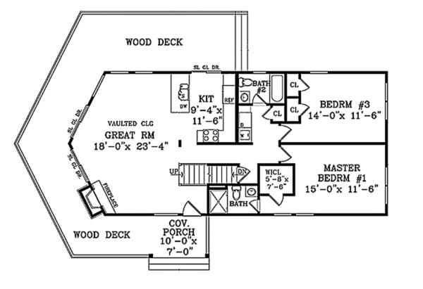 House Design - Cabin Floor Plan - Main Floor Plan #314-285