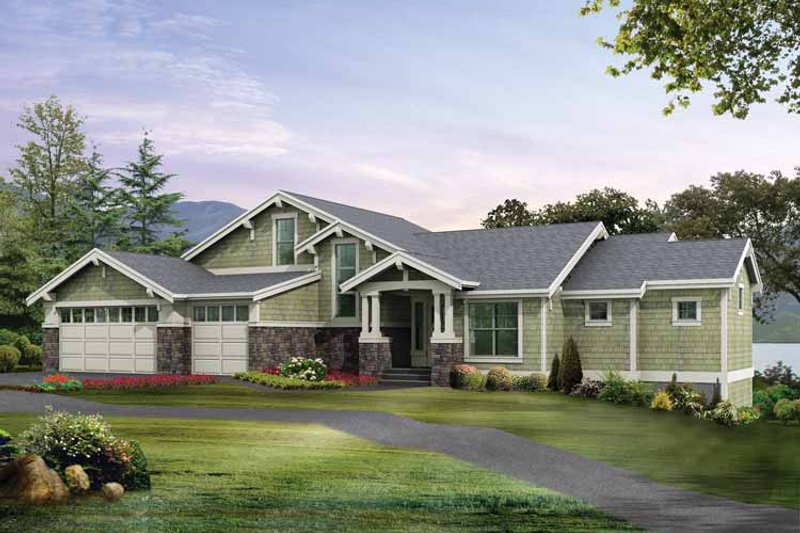 Dream House Plan - Craftsman Exterior - Front Elevation Plan #132-275