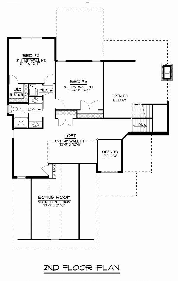 Craftsman Floor Plan - Upper Floor Plan Plan #1064-14