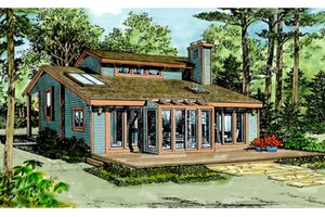 Architectural House Design - Contemporary Exterior - Rear Elevation Plan #314-243