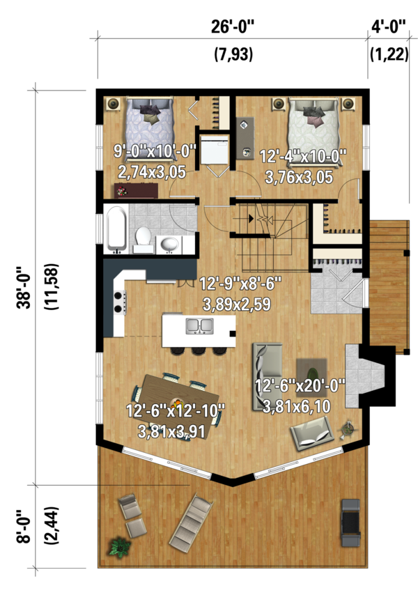 Cabin Floor Plan - Main Floor Plan Plan #25-4586