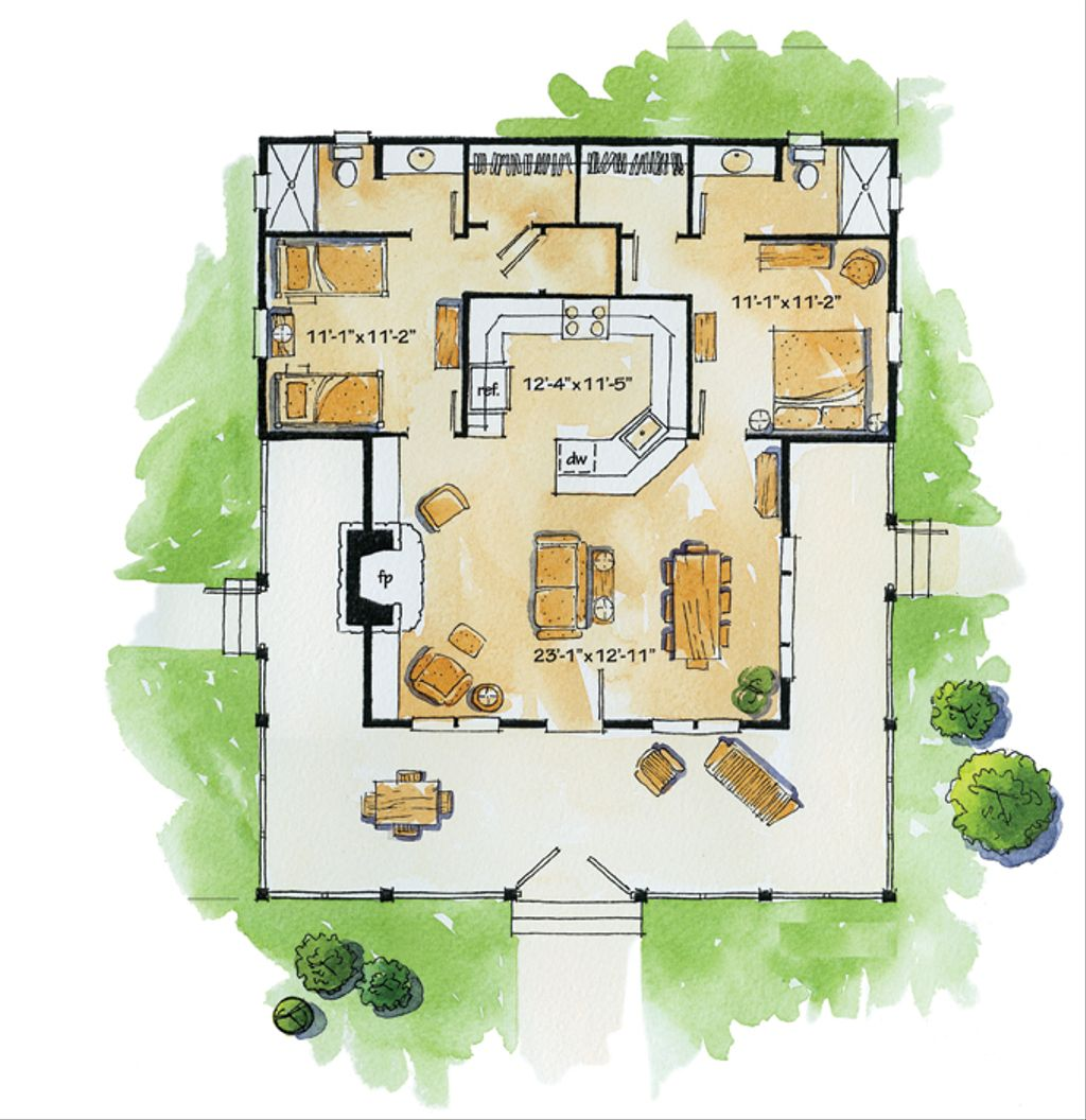 Country style house plan 2 beds 2 baths 1031 sq ft plan for Www eplans com