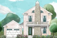 Colonial Exterior - Front Elevation Plan #1053-37