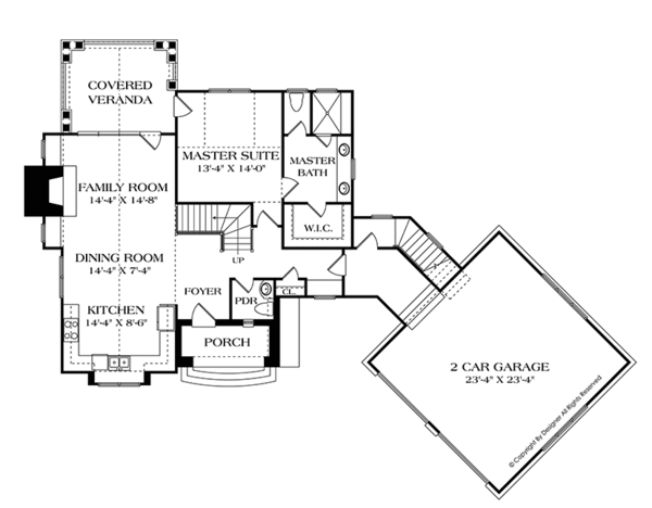 European Floor Plan - Main Floor Plan Plan #453-635