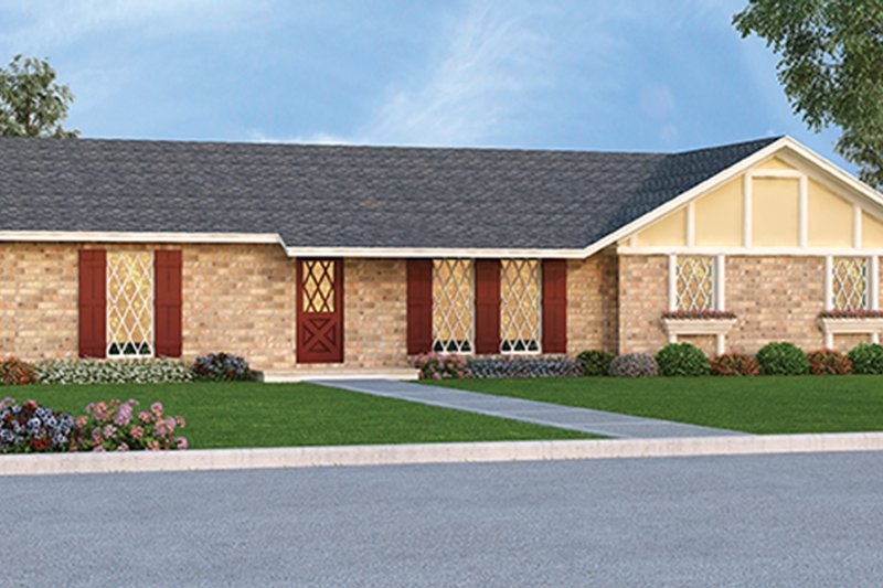 Ranch Exterior - Front Elevation Plan #45-555 - Houseplans.com