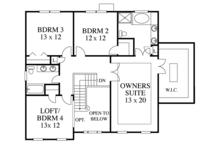 Colonial Floor Plan - Upper Floor Plan Plan #1053-61