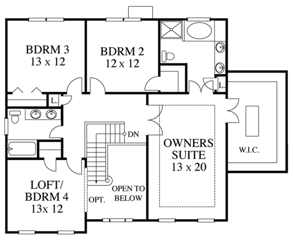 Colonial Floor Plan - Upper Floor Plan Plan #1053-61