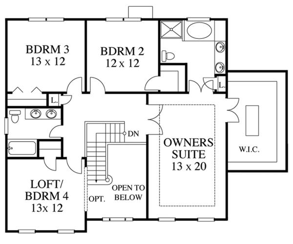 House Plan Design - Colonial Floor Plan - Upper Floor Plan #1053-61