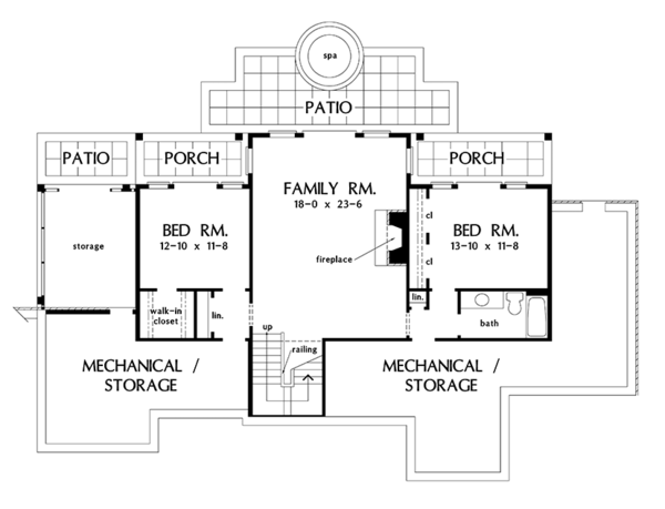 Craftsman Floor Plan - Lower Floor Plan Plan #929-968