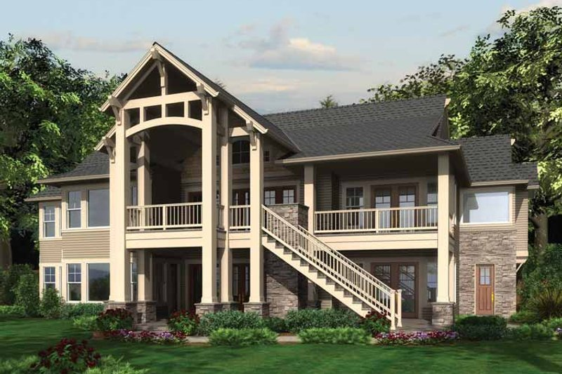 Craftsman Exterior - Rear Elevation Plan #132-561 - Houseplans.com