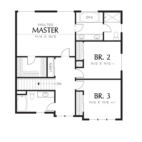 Craftsman Floor Plan - Upper Floor Plan Plan #48-528