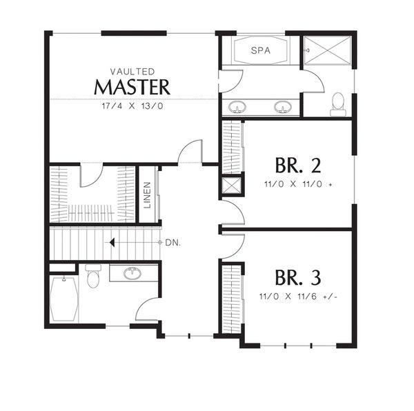 Craftsman Floor Plan - Upper Floor Plan Plan #48-528