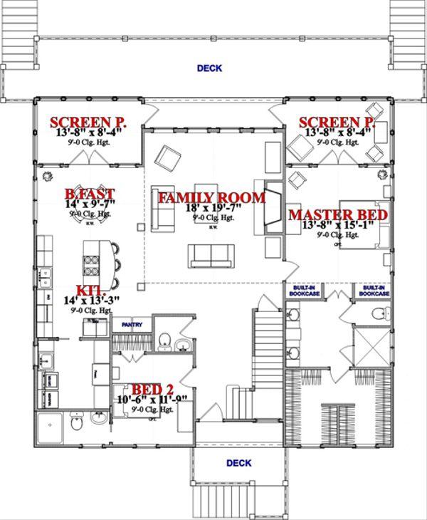 Beach Floor Plan - Main Floor Plan Plan #63-355