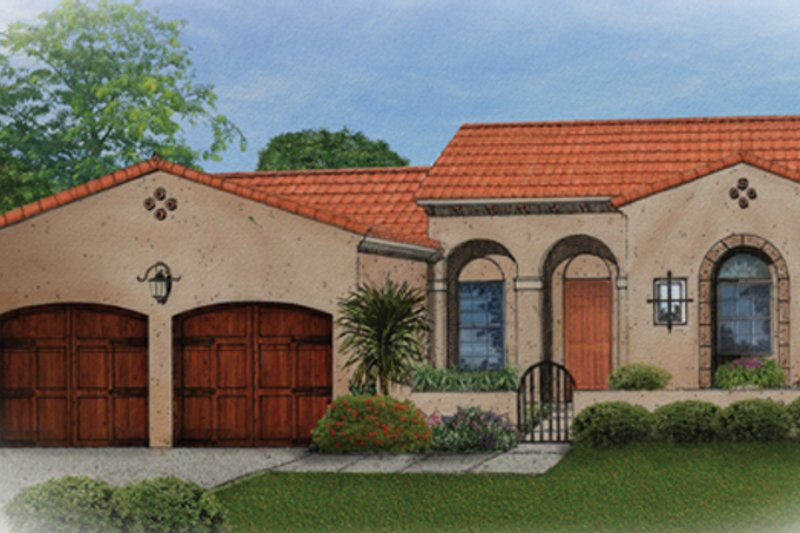 Mediterranean Style House Plan - 3 Beds 2 Baths 1684 Sq/Ft Plan #1058-4 Exterior - Front Elevation