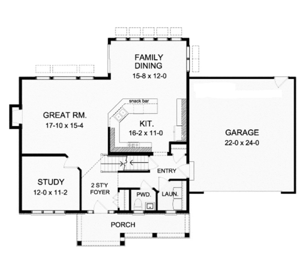Classical Floor Plan - Main Floor Plan Plan #1010-11