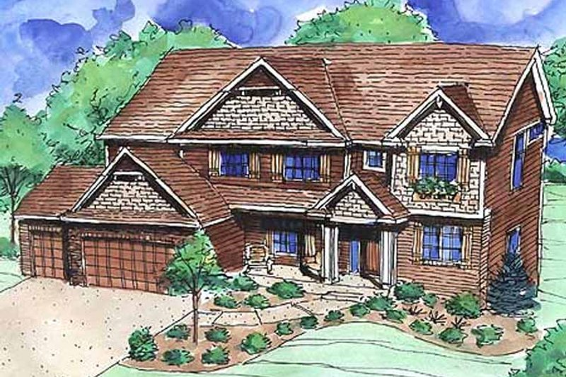 Craftsman Exterior - Front Elevation Plan #320-1473