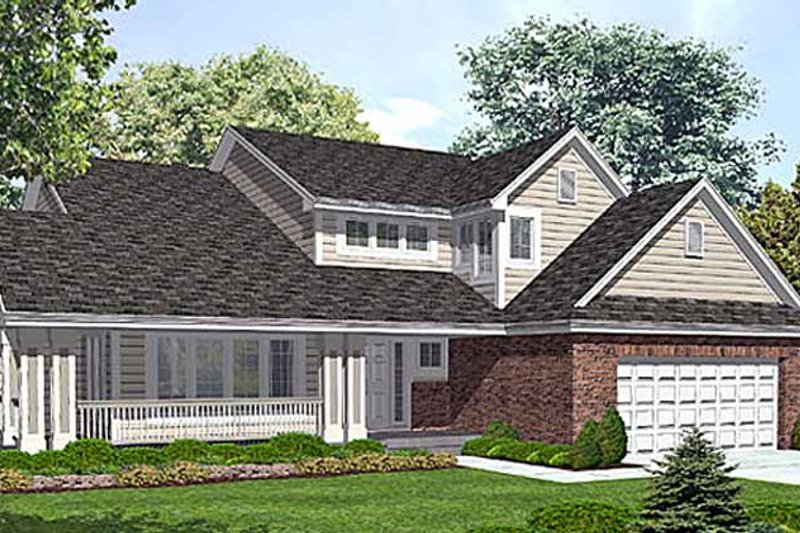 Architectural House Design - Country Exterior - Front Elevation Plan #320-1510